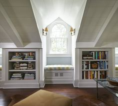 book shelves in knee walls for attic space (playroom for now, studio in the future...shelves would be great for both)