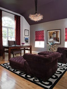 PURPLE wall paint in eclectic living room by Lizette Marie Interior Design