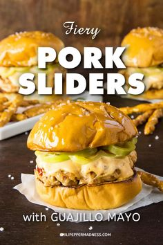 Fiery Pork Sliders with Guajillo Mayo - This recipe for pork sliders is truly FIERY with ghost peppers added to the pork. They're grilled or seared then topped with an easy-to-make, flavorful guajillo mayo and quickly pickled peppers. #burgers #sliders #PorkSliders #Pork #Guajillo #GhostPeppers