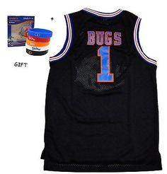 Bugs 1 Space Jam jersey Basketball Jersey Include Free Themed Wristbands BLACK