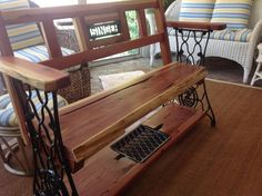 Bench made from a grandmother's old sewing machine.  Will go in the granddaughter's arbor.  What a great idea!