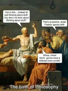 Birth of Philosophy.  How clever goat herders learned they could make a much better living sitting around making up stuff to impress the wealthy and politicians
