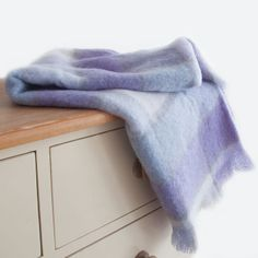 A Lavender Check Knee rug 110 x 130 cm, light & warm a perfect gift  for Mothers Day or in fact any time of the year. Mohair is cool in Summer & Warm in Winter.