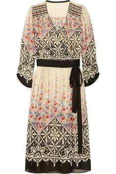 So pretty.    Anna Sui|Floral-print silk-chiffon wrap dress|NET-A-PORTER.COM