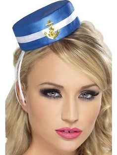 #Womens girls pill box #sailor hat blue mini hat fancy dress #accessory marine fu,  View more on the LINK: http://www.zeppy.io/product/gb/2/171198850257/