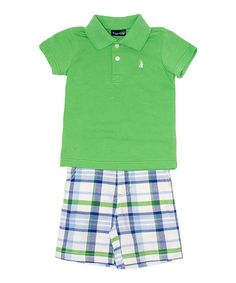 Love this Green Polo & White Plaid Shorts - Infant & Toddler by Rugged Bear on #zulily! #zulilyfinds