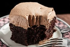 An easy chocolate cake recipe made in a 13-by-9-inch pan and topped with a generous layer of mocha buttercream frosting.