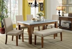6 piece dining set bench
