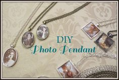 Family history young women or Relief Society activity! DIY photo pendant tutorial. Print a picture on cardstock, then use glamour seal to attach it to glass tile. Voila! Pretty necklace with special family photo inside. familylocket.com