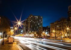An empty but BU-tiful view of Comm Ave at night as the bustle of our campus come alive under city lights. Boston University, Charles River, Bustle, City Lights, San Francisco Skyline, Empty, Urban, Night, Instagram Posts