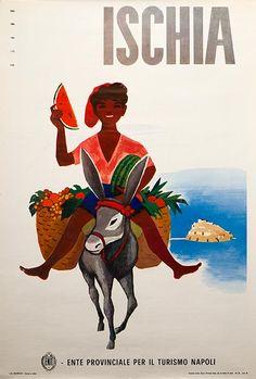 """[OThistory] Nonostante le remore relative alla sua instabilità a causa della presenza del vulcano Epomeo. Ischia è definita: """"Superbamente bella, non è che un vasto vigneto, aranci, limoni e ficus crescono in piena terra, basta per indicare la dolcezza del clima"""". Nel 1864 Ischia fa il giro della stampa internazionale quando Garibaldi vi soggiornò per curare la ferita procuratasi in Aspromonte. (L'immagine Enit è opera di M. Puppo risalente al 1954)"""