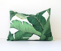 Green Floral Decorative Designer Lumbar Pillow by WhitlockandCo, $38.00