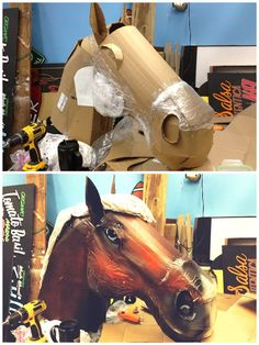 Needed a horse head for a display. Found some cardboard, plastic, and a mop head and got to work. - Imgur