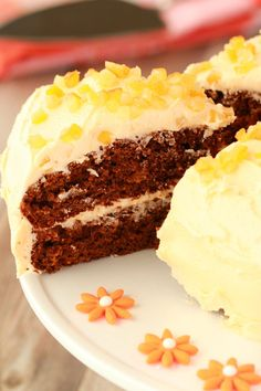 gingerbread cake with orange frosting.