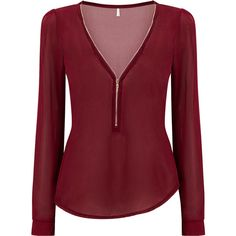 Yoins Burgundy Zipper Front Chiffon Blouse (£8.21) ❤ liked on Polyvore featuring tops, blouses, shirts, long sleeved, blusas, burgundy, red chiffon shirt, red chiffon blouse, long sleeve blouse and shirt blouse