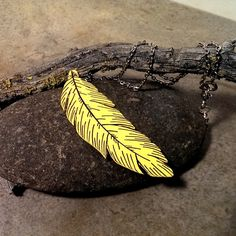 Yellow feather necklace painted wood jewelry by CrowsdanceDesigns, $35.00 USD