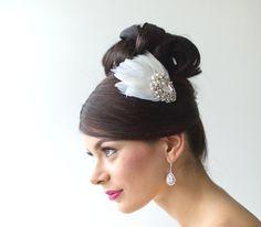 Ivory Fascinator Feather Fascinator Bridal by PowderBlueBijoux