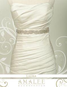 Custom Bridal  Wedding rhinestone belt or sash in silk organza --LAURA belt. $95.00, via Etsy.
