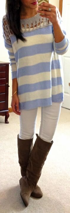 light blue and white. striped white pants black boots summer style apparel women clothing outfit fashion