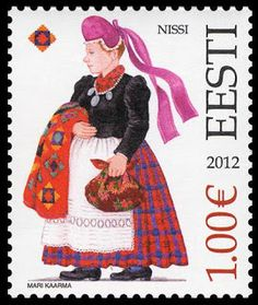 Estonian costume stamp, issued on April 14, 2012.
