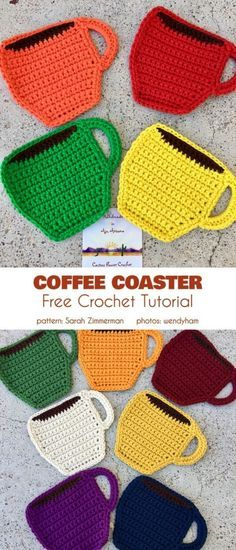 Crochet For Beginners Coffee Coaster Free Crochet Pattern These coffee-themed coasters are a great match for your after-brunch Sunday coffee, each one in a different color, so everyone knows their place ;] Easy and quick pattern, good for beginners! Crochet Kitchen, Crochet Home, Crochet Gifts, Knit Crochet, Crochet Owls, Crochet Geek, Crochet Collar, Crochet Shirt, Crochet Stitch