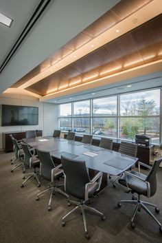 The conference room designed by NK Architects in the recently completed showroom at Dassault Falcon Jet Corporation's North American Headquarters at Teterboro Airport.