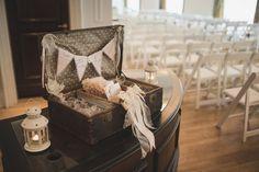 The Perfect Powerscourt Hotel Wedding | Vintage Suitcase with Ceremony Booklets | weddingsonline