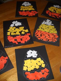 Simple fall craft for kids. Construction paper candy corn collages. Great way to work on colors, sorting, using a glue bottle, scissor cutting or tearing... tons of things!