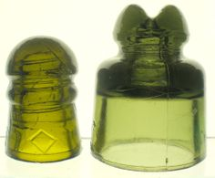 DARK OLIVE GREEN UNKNOWN CD GLASS ELECTRIC INSULATOR.