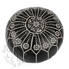 Moroccan Leather Pouffe, Black Starburst - http://www.bohemiadesign.co.uk/bohemia-home-moroccan-leather-pouffe-black-starburst-p7631
