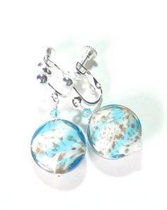 Genuine Venetian Glass Aqua White Copper Earrings, Murano Glass Earrings, Sterling Silver Leverback Earrings, Clip On Earrings