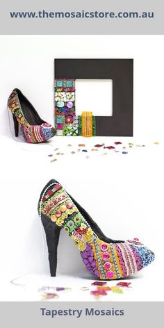 This Mosaic uses a technique called tapestry mosaics to create this gorgeous shoe. Mosaic kits are available for shoes, mirrors and photo frames. www.themosaicstore.com.au
