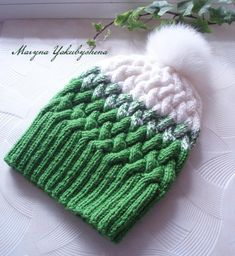 Knitting hat Women hat Hat with Pompom Ombré Knit Hat GRADIENT HAT Green and white Knitting hat with braids Cap Gift – Awesome Knitting Ideas and Newest Knitting Models Pineapple Hat, Knit Crochet, Crochet Hats, Hats For Women, Women Hat, Knit Beanie Hat, Time 7, Hat Making, Handmade Shop