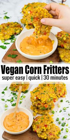 recipes for two vegetarian Corn Fritters Vegetarian Recipes Videos, Vegetarian Meals For Kids, Vegetarian Breakfast Recipes, Vegan Recipes Easy, Asian Recipes, Vegan Corn Fritters, Vegetable Recipes For Kids, Clean Eating, Think Food