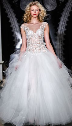 Reem Acra Spring 2014: Embroidered illusion drop-waist gown