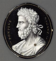 Plate: Pompey; grisaille enamel; Penicaud John II (16th century) (attributed to); Paris, Louvre