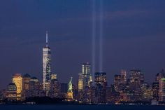 September 11th Tribute in Light from Bayonne, New Jersey - September 11 attacks - Wikipedia The Tribute in Light on September 11, 2014, on the thirteenth anniversary of the attacks, seen from Bayonne, New Jersey. The tallest building in the picture is the new One World Trade Center.