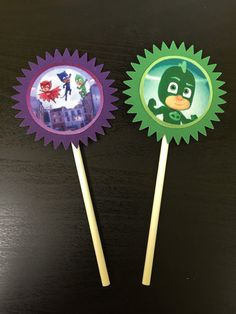 PJ Masks Cupcake Toppers 12 PJ Masks Birthday Party PJ