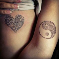 Intricate Heart and Yin Yang Tattoos