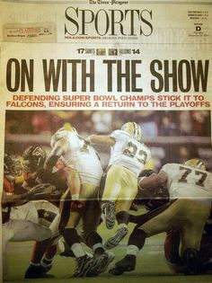 Front page of the Times-Picayune Sports Section on Dec, 28, 2010
