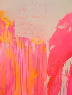 Cy Twombly - I can't quite read the words on the paper at the top of this painting.