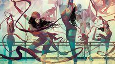 General 3840x2160 dancing colorful Elektra artwork women dancers