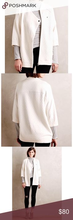 """Anthropologie quilted jacket Fits XS-M NWOT Anthropologie Bella Luxe quilted jacket. NWOT. Ivory colored jacket. Quilted cotton. 3/4 length sleeves. Side pockets. Asymmetric zip and single snap front. So soft and comfortable. Oversized. Will easily fit a small or medium depending on desired fit. Underarm to underarm 20"""", length 28.5"""". Anthropologie Jackets & Coats"""