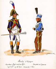 French; 81st Line Infantry, Drum-Major & 2nd Hussars Trumpeter, in Spain