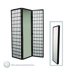 3-panel Wood Room Divider With Mirror