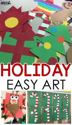 Easy christmas craft art activities perfect for special education classrooms pre-school early childhood and kindergarten Diy Christmas Videos, Homemade Christmas Cards, Christmas Crafts For Kids, Diy Christmas Gifts, Christmas Art, Christmas Projects, Holiday Crafts, Holiday Themes, Father Christmas