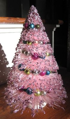 Vintage Pink Bottle Brush Christmas Tree With Mercury Glass Garland & Glitter