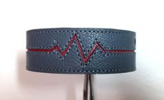 Women's leather heartbeat bracelet cuff  by ChristyKeysCreations