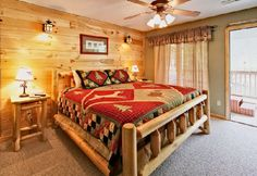Make Your Superior Rustic Bedroom Decorating Ideas : Cabin River Retreat The Rustic Country Bedroom Decorating Ideas --- The bed will be something like this. We are thinking of using some kind of wood wall covering. This might work on one wall...however, the ceiling will be knotty pine tongue and groove. What do you think?