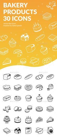Bakery Products Icons by tomswhale Bakery Products Icons Set includes 30 icons that are available in EPS, AI, PSDs formats and suitable for inclusion in any designer
